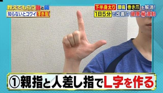 親指と人差し指で「L字」をつくる